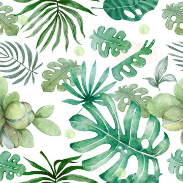 Hand drawn watercolor tropical leaves seamless pattern. Exotic leaves illustrations on white backgorund, jungle tree, brazil trendy
