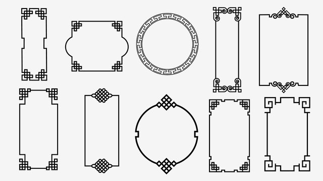 Set of art frames in asian style. Chinese, korean, japanese style ornament isolated on white background. Used as an art element to create various scenes. Vector graphics