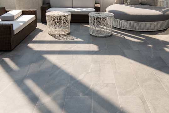 beautiful terrace, grey floor tile outdoor.