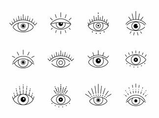 Obraz Vector eye boho design. Outline eyes symbols, tattoo design - fototapety do salonu