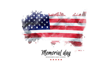 Memorial Day background illustration. text Memorial Day, remember and honor with America flag watercolor painting isolated on white background, vintage grunge style Wall mural