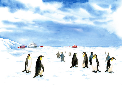 South pole painted in watercolor