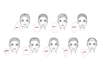 Female eyebrow shapes in accordance with the shape of the face. Line art design. Vector illustration
