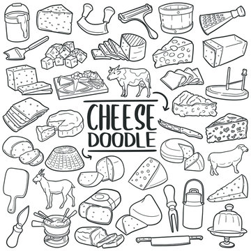 Cheese doodle icon set. Types of cheese and tools. Vector illustration collection. Hand drawn Line art style.