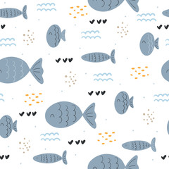 Seamless pattern with cute fish. vector pattern