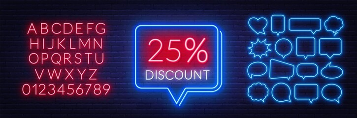 Fototapete - 25 percent discount neon sign. Template for a design with speech bubble frames. Neon alphabet on brick wall background.