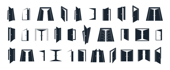 Door icons vector set, flat and 3d dimensional styles symbols, big collection.