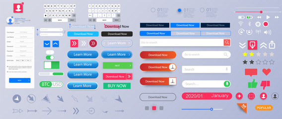 Set of elements for the interface. Universal UI/UX kit for app or web. Constructor for interfaces design. Colorful navigation long web button. Interface buttons. Web UI elements for browsers. Vector Fototapete