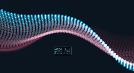 Flowing particles wave, dynamic sound motion. 3d vector illustration. Beautiful wave shaped array of glowing dots. Fotoväggar