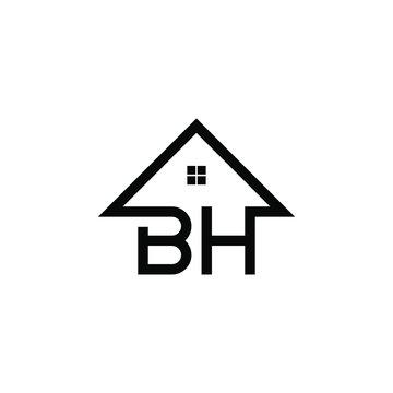 Letter BH logo design real estate
