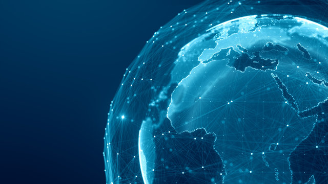 Communication technology global world network concept. Connection lines Around Earth Globe, Motion of digital data flow. Futuristic Technology Theme Background with Light Effect.
