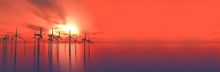 Foto auf Gartenposter Koralle Silhouette Windmills On Landscape Against Sky At Sunset
