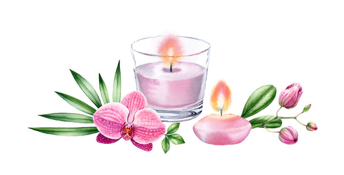 Watercolor candles with tropical flowers. Pink orchid and palm leaves. Spa and cosmetic products isolated on white background. Realistic hand drawn illustration