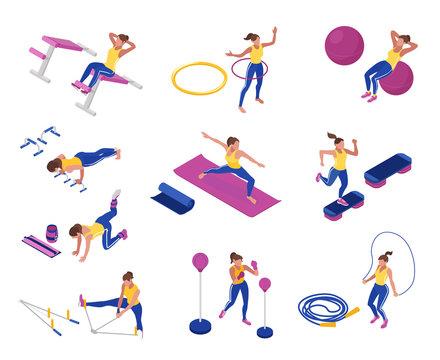 Woman At Gym Set