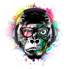 Colorful artistic monkey in eyeglasses with colorful paint splatters on yellow background