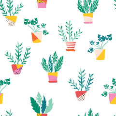 Plant pots seamless vector pattern. Repeating pattern with potted plants flat Scandinavian style. Room plants design. Use for fabric, wallpaper, wrapping