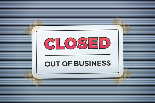 CLOSED Out of business shop sign vector illustration