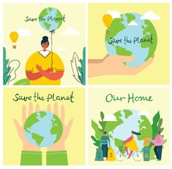 Vector illustration ECO background of Concept of green eco energy and quote Save the planet. - fototapety na wymiar