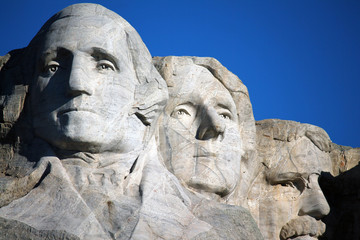 Detail view of the Mount Rushmore Monument