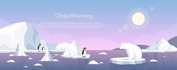 Global warming ice landscape vector illustration. Cartoon flat penguins group and polar bear floating on iceberg of melting arctic or antarctic glacier in north sea. Global warming concept background