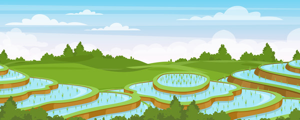 Rice field landscape vector illustration. Cartoon flat rural farmland scenery with green paddy rice terraces, terraced farmer plantation for rice cultivation in water, asian agriculture background Fotomurales