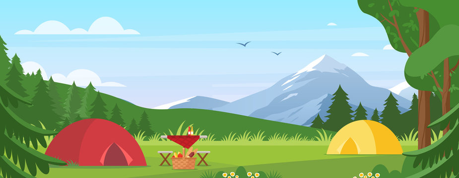Summer camping vector illustration. Cartoon flat tourist camp with picnic spot and tent among forest, mountain landscape on sunny day. Outdoor nature adventure, active tourism in summertime background