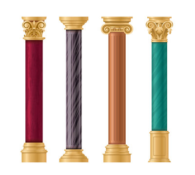 Pillars vector illustration architectural set. Classic marble column with gold pillar decorations in ancient different styles and colors for temple, roman greek stone architecture isolated on white