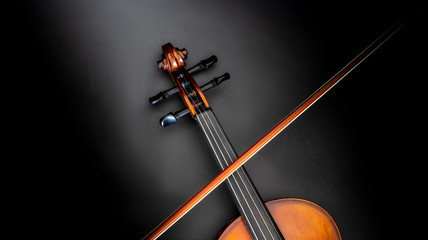 classical violin with snail and violin bow black background top view  Wall mural