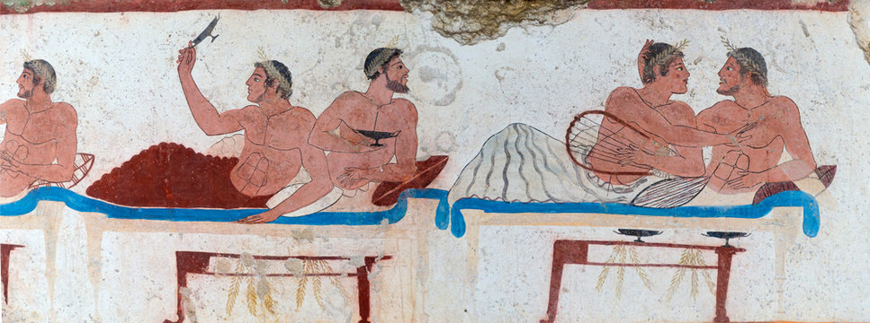Lucanian fresco tomb painting. Paestum. Salerno. Campania. Italy.