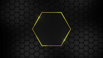 Wall Mural - Black and gold hexagon template background, 3d render illustration