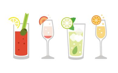 Obraz Brunch drinks set - isolated vector illustration - fototapety do salonu