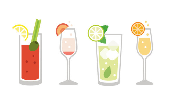 Brunch drinks set - isolated vector illustration