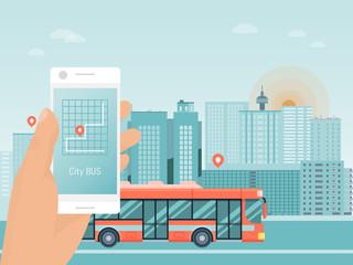 Hand hold smart phone app, city bus travel tour, autobus mobile application flat vector illustration. Street coach urban guided tour trip, design concept travel excursion route urban landscape. Fotobehang