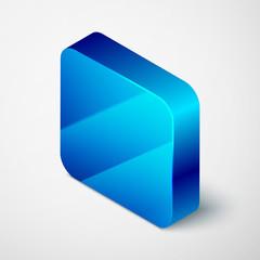 Isometric Shaving brush icon isolated on grey background. Barbershop symbol. Blue square button. Vector Illustration