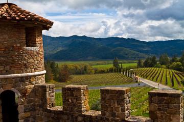 View of Vineyard and  Castle Towers at Italian Style Castle in Napa Valley,Calistoga, California, USA