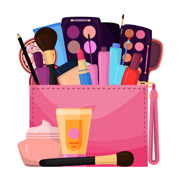 Cosmetics in bag, bagful makeup masters pink color with set plaster shadows, creams and lipsticks, design flat vector illustration. handbag with beauty salon for elegant care for face, eye, lips.