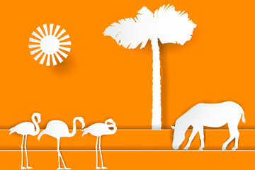 Africa landscape with silhouettes of zebra, flamingo and palm tree. Paper cut shapes and layers style