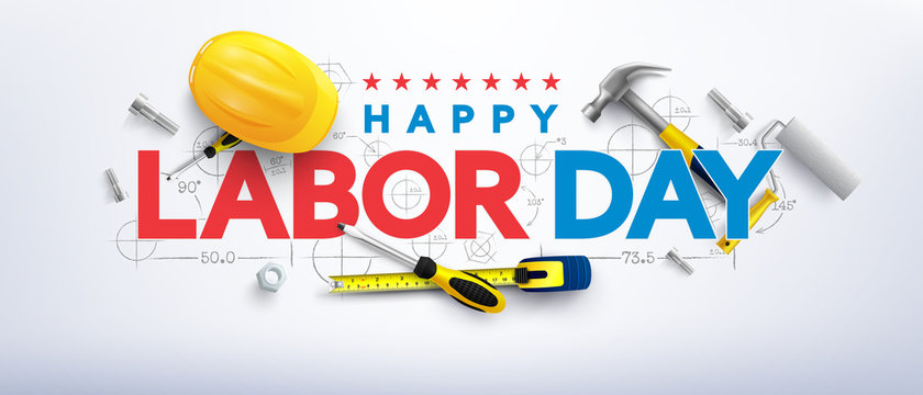 Labor Day poster template.International Workers' Day celebration with Yellow safety hard hat and construction tools.Sale promotion advertising Poster or Banner for Labor Day