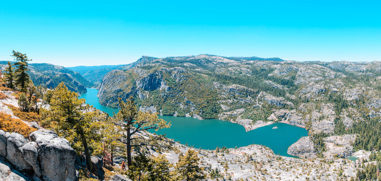 Panoramic of Donnell Lake in Stanislaus National Forest in california