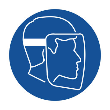 Wear face shield safety pictogram