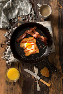 Bacon and Eggs in the Hole with Heart Shape