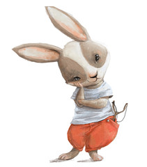 cute little cartoon hare with red pants