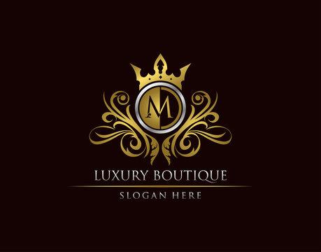 Luxury Boutique M Letter Logo, Circle Gold Crown M Classic Badge Design
