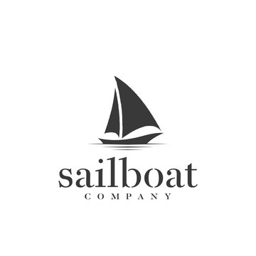 Silhouette of Dhow logo design, Traditional Sailboat from Asia / Africa
