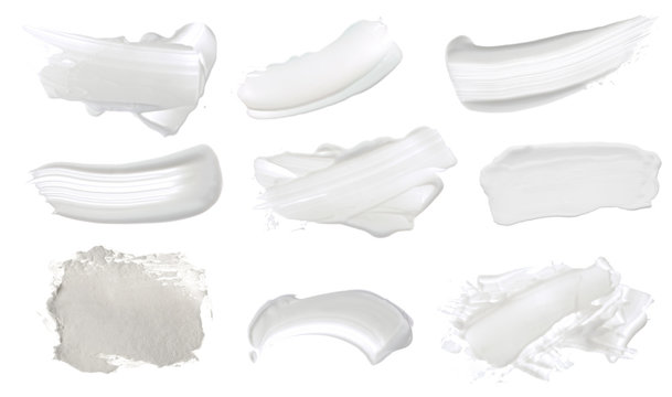 Collection of Abstract acrylic white color smear brush stroke. Isolated on white background.