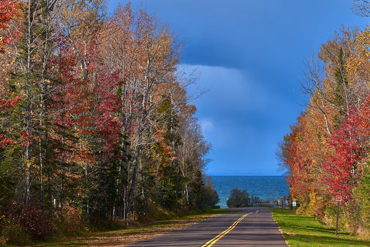 meyers beach road, autumn, wisconsin