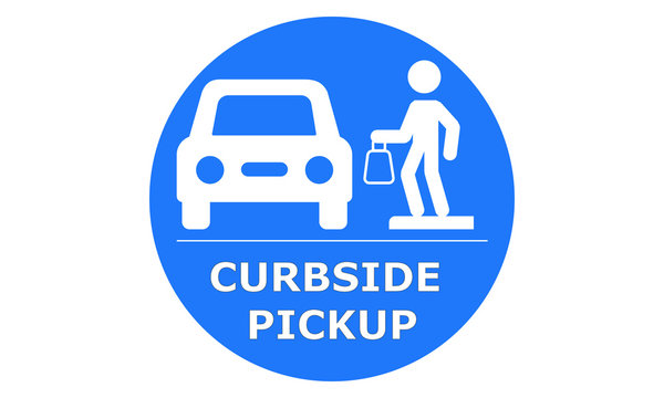 Curbside Pickup illustrated vector clip art sign symbolizing a designated area