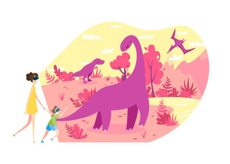 People in virtual reality VR glasses travel in time to see living dinosaurs, vector illustration. Holographic entertainment project for children, futuristic technologies. Prehistoric extinct animals