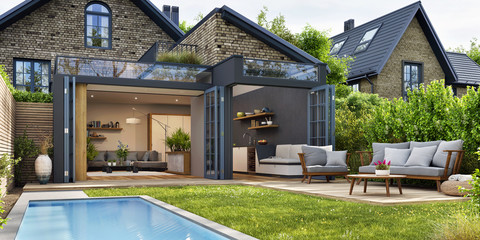 Modern patio outdoor with swimming pool. Modern house interior and exterior design