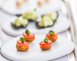 variety of vegetable appetizers and finger food